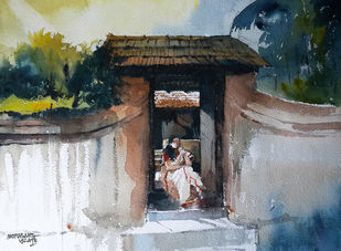 Dreaming by Mopasang Valath, Expressionism Painting, Watercolor on Paper, Gray color