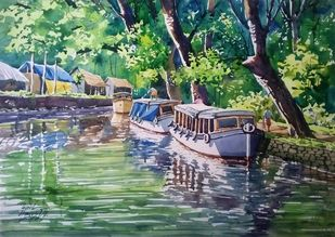 Beauty of back water by Sunil Linus De, Impressionism Painting, Watercolor on Paper, Green color