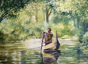 Back to home by Sunil Linus De, Impressionism Painting, Watercolor on Paper, Beige color