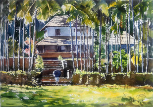 Home at village by Sunil Linus De, Impressionism Painting, Watercolor on Paper, Green color