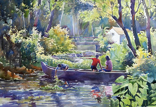 nostalgia by Sunil Linus De, Impressionism Painting, Watercolor on Paper, Green color