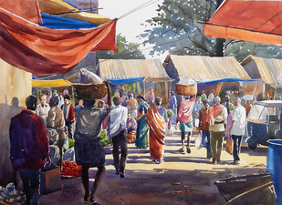 Busy market by Sunil Linus De, Impressionism Painting, Watercolor on Paper, Brown color