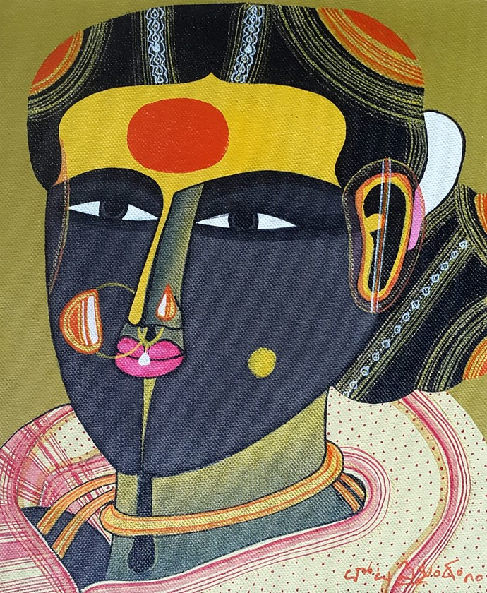 untitled by Thota Vaikuntam, Expressionism Painting, Acrylic on Canvas, Brown color