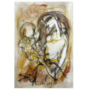 Mother and Child by Dhiraj Choudhury, Expressionism Painting, Acrylic & Ink on Paper, Beige color