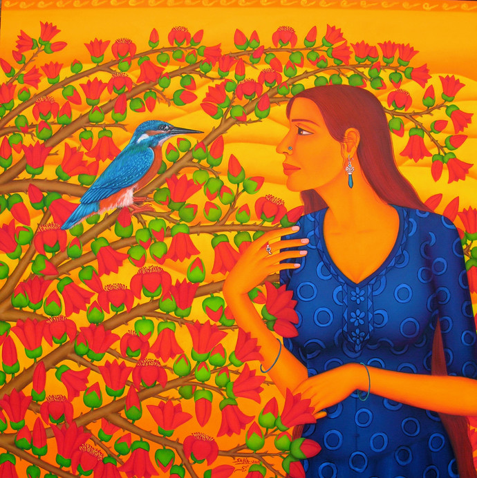 Symphony of Songs by Sabia Khan, Expressionism Painting, Oil on Canvas, Orange color