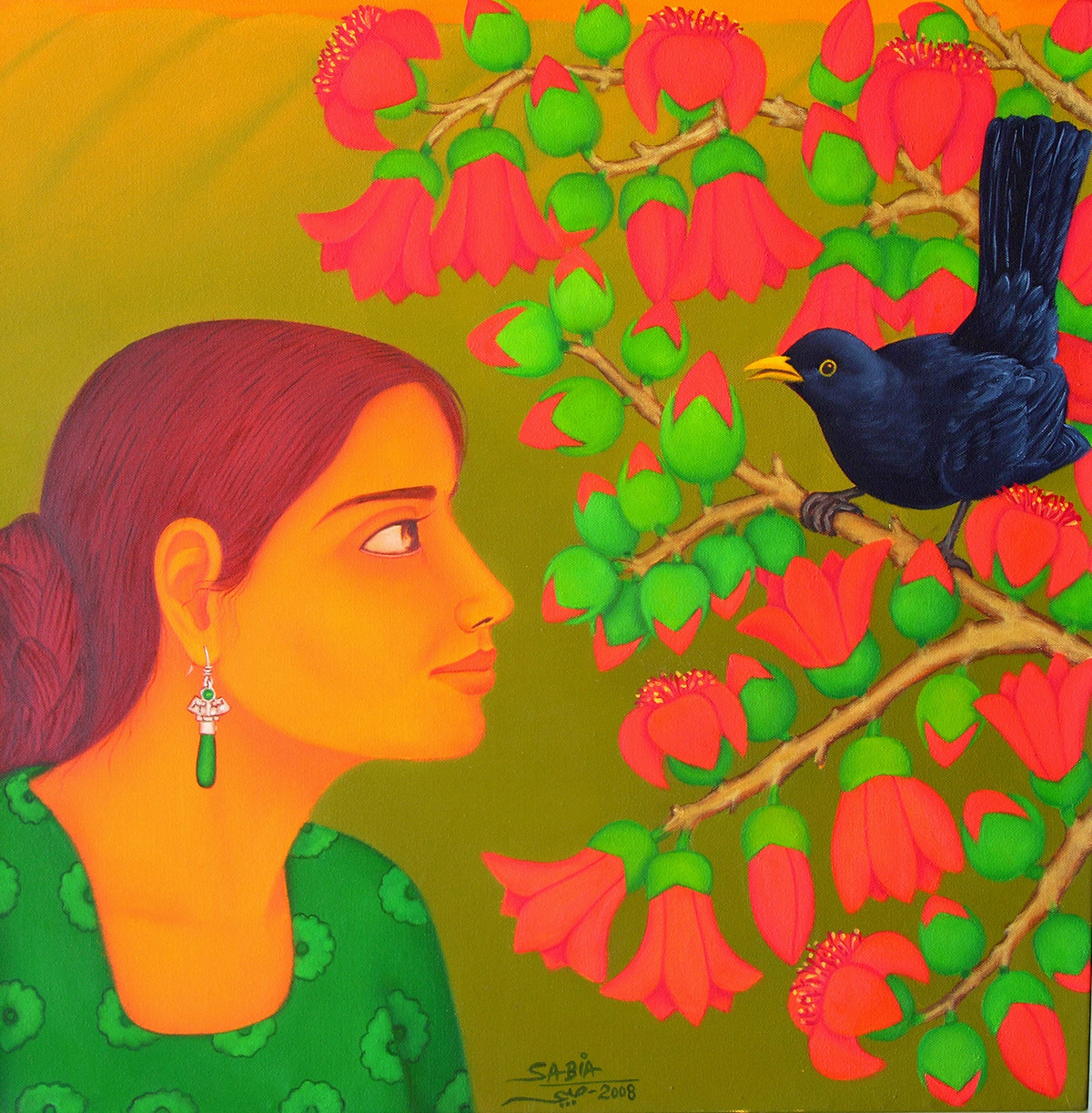 Tryst with Nature II by Sabia Khan, Expressionism Painting, Oil on Canvas, Green color