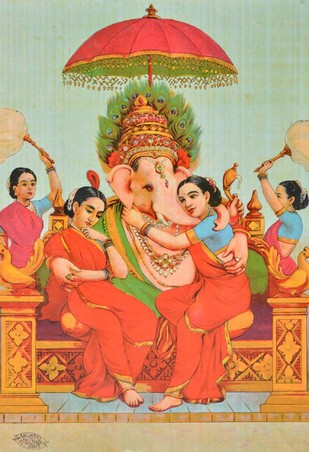 Riddhi Siddhi Ganpati by Raja Ravi Varma, Illustration Printmaking, Lithography on Paper, Beige color