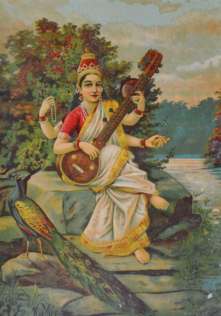 Saraswati by Raja Ravi Varma, Illustration Printmaking, Lithography on Paper, Brown color