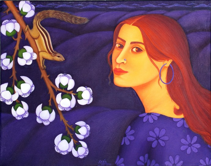 Tryst with Nature III by Sabia Khan, Expressionism Painting, Oil on Canvas, Blue color