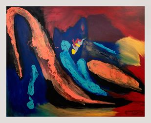 Moon Songs- 3 by Rashmi Khurana, Expressionism Painting, Acrylic on Canvas, Brown color