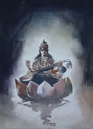 Goddess Saraswati by Mopasang Valath, Impressionism Painting, Watercolor on Paper, Blue color