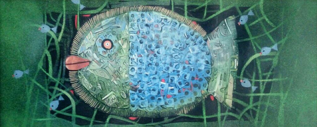 MATSYA 2 by Subhasish Das, Impressionism Painting, Mixed Media on Paper, Green color