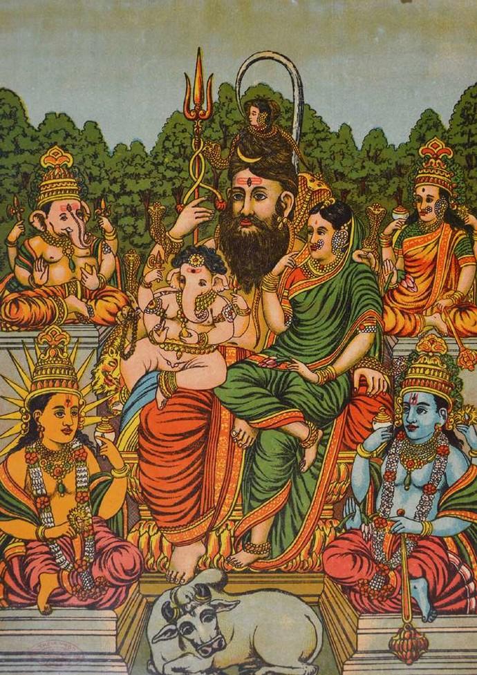 Panchdev by Raja Ravi Varma, Illustration Printmaking, Lithography on Paper, Brown color