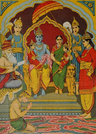 Ram Luv Kush by Raja Ravi Varma, Illustration Printmaking, Lithography on Paper, Brown color