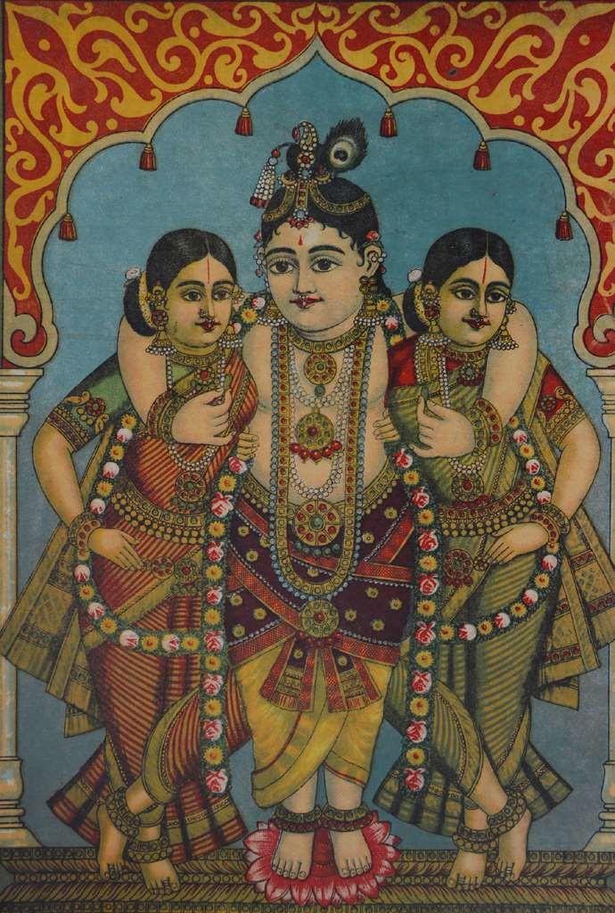 Shri Krishna Gopi by Raja Ravi Varma, Illustration Printmaking, Lithography on Paper, Brown color