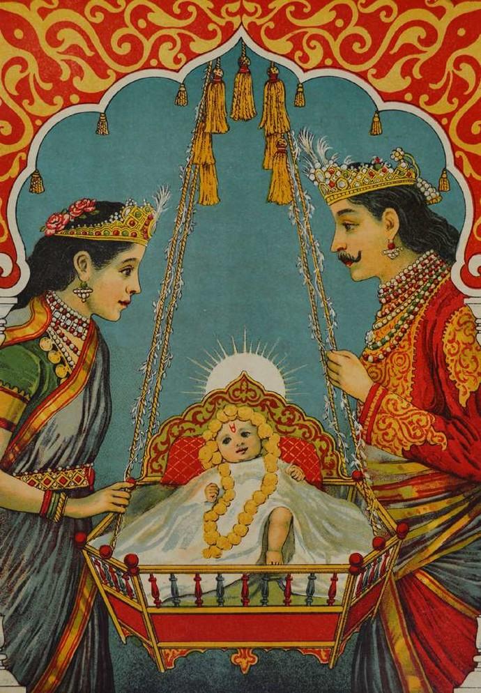 Shri Ram Janma by Raja Ravi Varma, Illustration Printmaking, Lithography on Paper, Brown color