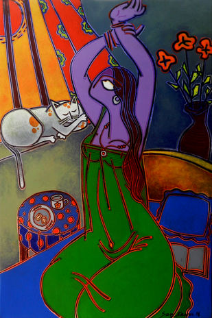 Morning Tea by Santanu Nandan Dinda, Expressionism Painting, Acrylic on Canvas, Blue color