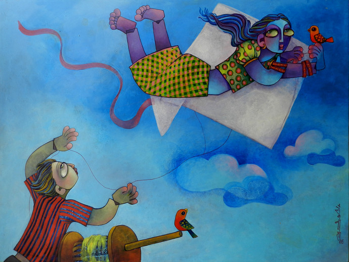 I can fly by Sunita Dinda, Expressionism Painting, Acrylic on Canvas, Blue color
