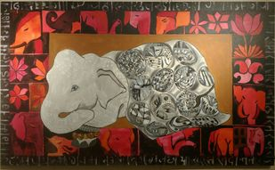 Airavaat by Charushila, Decorative Painting, Acrylic on Canvas, Brown color