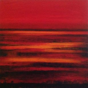 synergy by P. Saraswati, Expressionism Painting, Acrylic on Canvas, Red color
