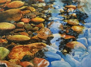 Reflection by Uday Bhan, Impressionism Painting, Watercolor on Paper, Brown color