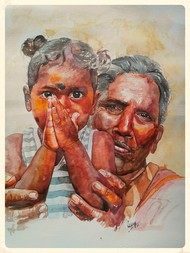 Please by Uday Bhan, Realism Painting, Watercolor on Paper, Brown color