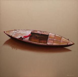 Alone by VINAYAK TAKALKAR, Photorealism Painting, Oil on Canvas, Brown color