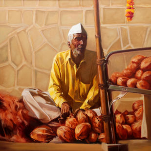 COCONUT SELLER by VINAYAK TAKALKAR, Photorealism Painting, Oil on Canvas, Brown color
