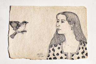 Tryst with Nature Series by Sabia Khan, Expressionism Drawing, Pen & Ink on Paper, Beige color