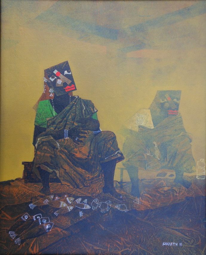dealing with life 2 by sharath kumar , Impressionism Painting, Canvas on Board, Beige color