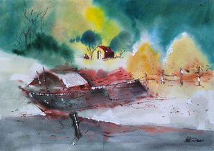 Watercolour 09 by Raj Kr Singh, Impressionism Painting, Watercolor on Paper, Green color