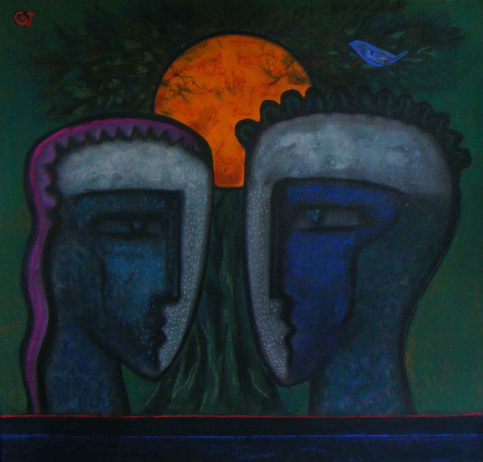 The Natrure by Abhijit Das, Expressionism Painting, Tempera on Board, Blue color