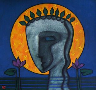 The Female by Abhijit Das, Expressionism Painting, Tempera on Board, Blue color