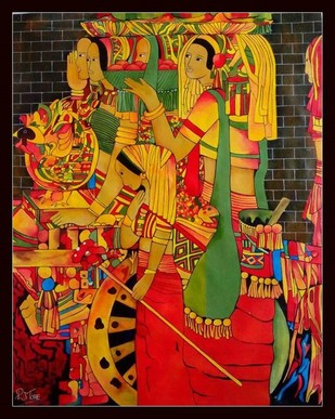 BANJARE 1 by PARESH MORE, Tribal Painting, Acrylic on Canvas, Brown color