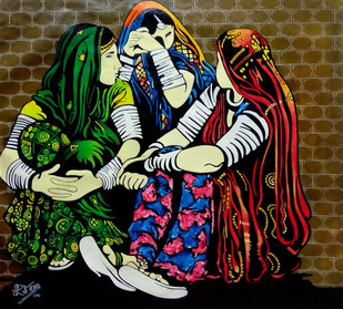 BANJARE 3 by PARESH MORE, Expressionism Painting, Acrylic on Canvas, Brown color