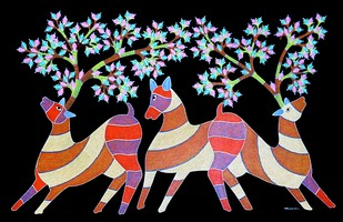 Gond painting by Rajendra Kumar Shyam , Tribal Painting, Acrylic on Canvas, Black color