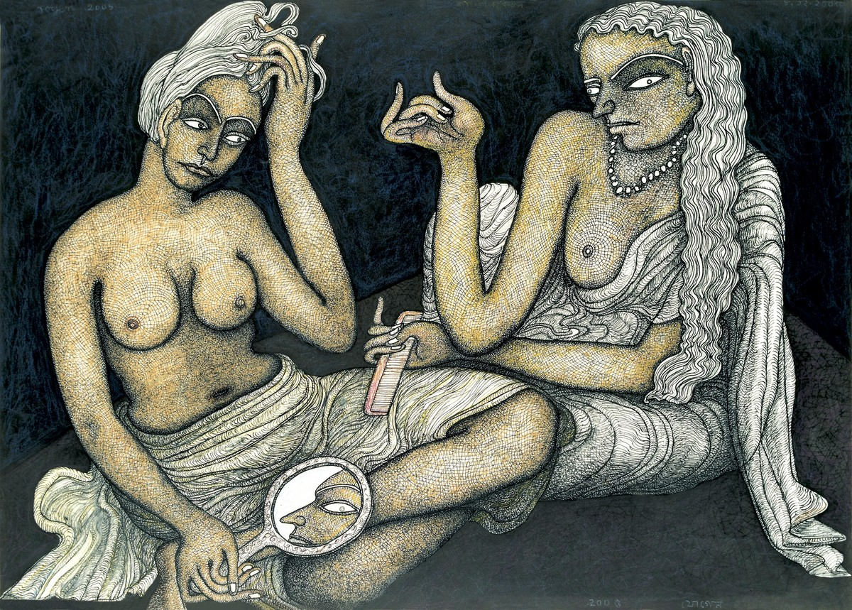 Prashadhan - Edition of 60 by Jogen Chowdhury, Expressionism Printmaking, Serigraph on Paper, Gray color