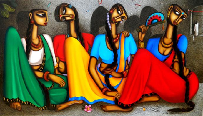 GOSSIP by artist Pintu Paul – Expressionism, Painting   Mojarto   217221