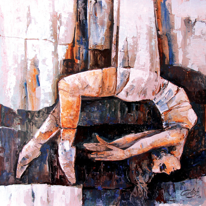 Hostel life ( Love is something far more than desire ) by gurdish pannu, Expressionism Painting, Acrylic on Canvas, Brown color