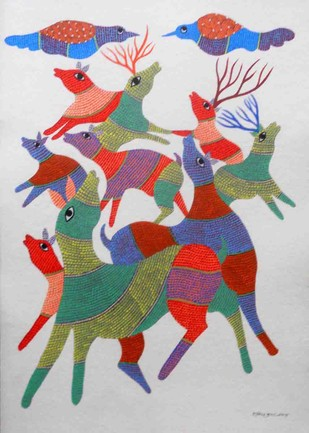 Gond painting by Unknown Artist, Tribal Painting, Acrylic on Paper, Gray color