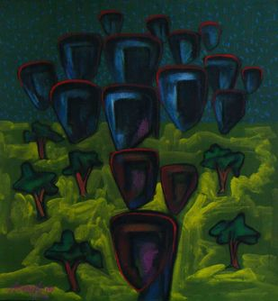 Civilization 1 by Abhijit Das, Expressionism Painting, Tempera on Board, Green color