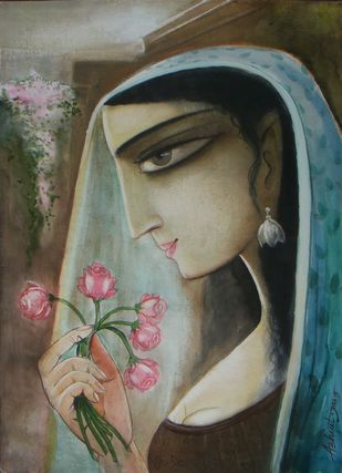 Dropadi by Abhijit Das, Expressionism Painting, Watercolor on Board, Brown color