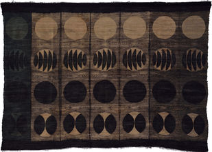Untitled by Neha Puri Dhir, Conceptual, Geometrical Textile, Resist Dyeing on Silk, Gray color