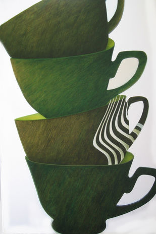 After Oppenheim by anju kaushik, Op Art Painting, Oil on Canvas, Green color