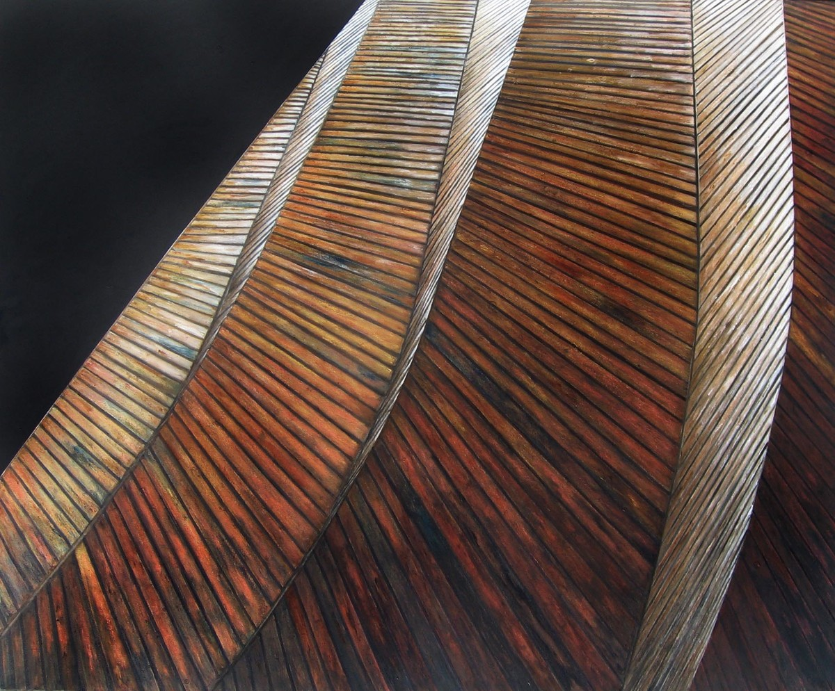 perspective 3 by anju kaushik, Op Art Painting, Oil on Canvas, Brown color