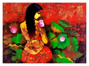 Beauty with Nature by Mukesh Salvi, Expressionism Painting, Acrylic on Canvas, Brown color