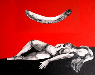08 (The Complete Being) by Jayshree Goradia, Expressionism Painting, Mixed Media on Canvas, Red color