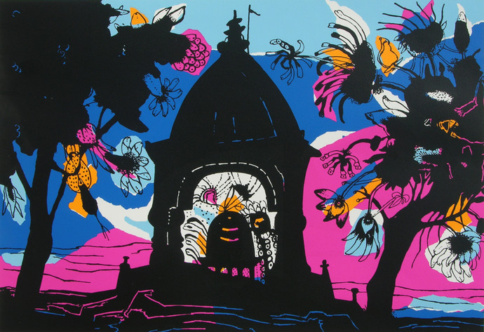 Banaras in Pink by Manu Parekh, Impressionism Printmaking, Serigraph on Paper, Blue color
