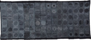 Evanesce by Neha Puri Dhir, Geometrical Textile, Resist Dyeing on Silk, Green color
