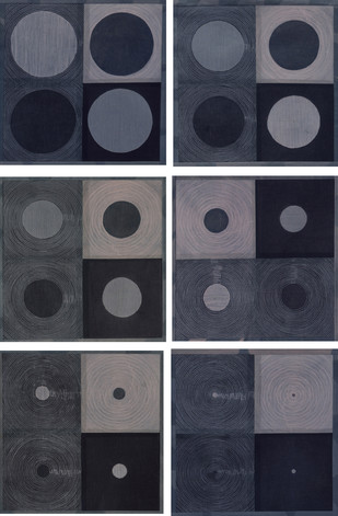 Inverse by Neha Puri Dhir, Geometrical Textile, Resist Dyeing on Silk, Gray color